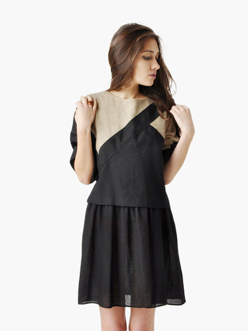 Vintage Black and Beige Color Block Layered Dress