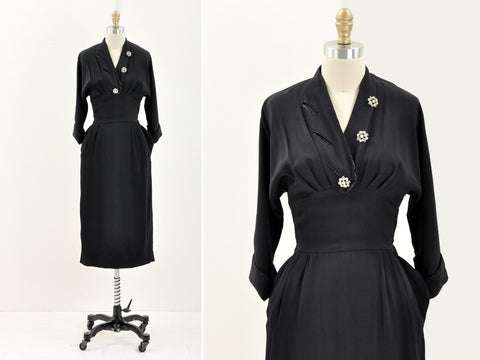 Vintage little black RHINESTONE dress