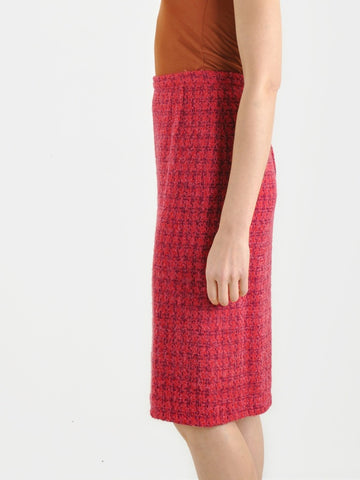Vintage 60s Pink Knit Pencil Skirt