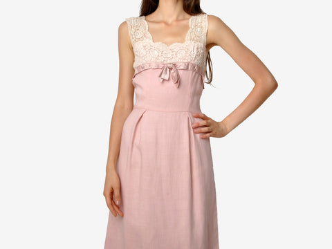 Vintage Charles Glueck Pink Linen and Lace Dress