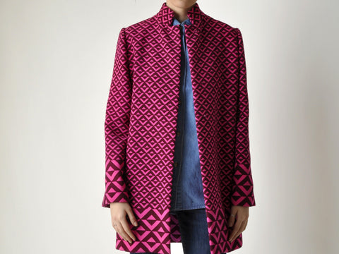 Vintage Custom Made Graphic Pink Coat