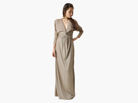 Vintage Bill Blass Draped Taupe Gown