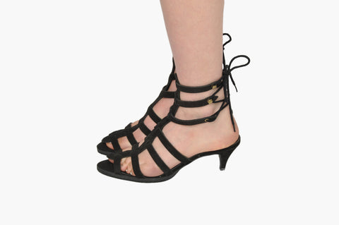 Betsey Johnson Black Lace Up Heels