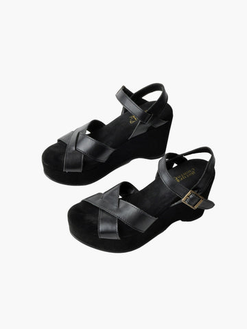 Vintage Black Leather Wedge Sandals