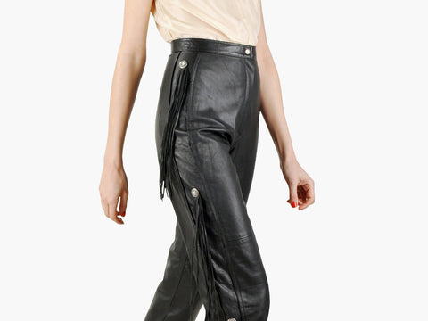 Vintage Pia Rucci Black Fringe Leather Pants