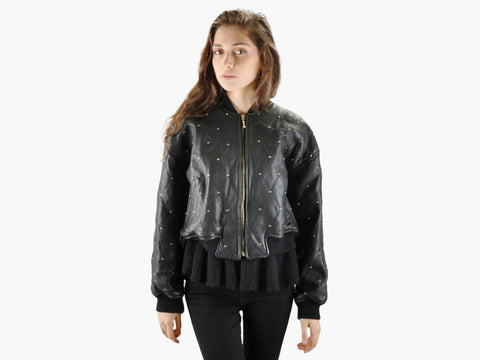 Vintage 90s Leather Studded Bomber Jacket