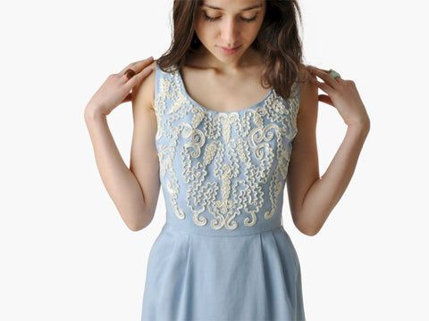 Vintage Blue and White Lace Cocktail Dress