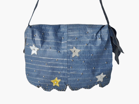vintage blue leather bag with stars and studs