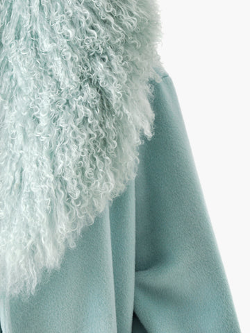 Vintage Blue Mongolian Lamb Fur Coat