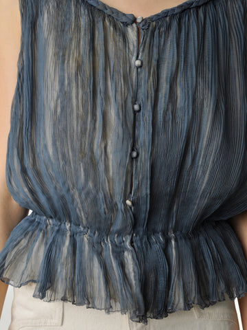 Vintage Blue Gray Silk Pleated Blouse