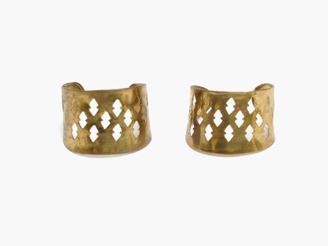 Vintage Brass Arrow Cutout Double Cuffs