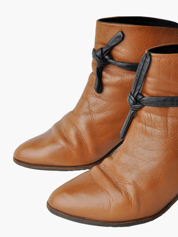 Vintage Brown Braided Ankle Boots