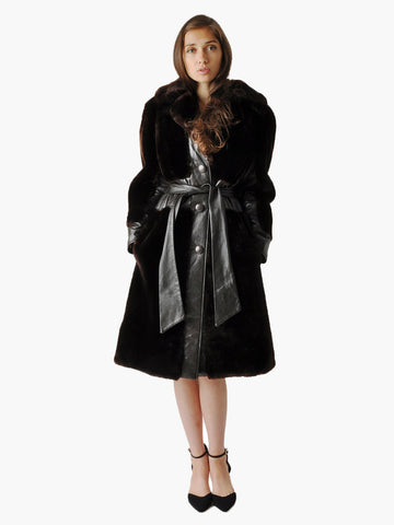 Vintage Brown Faux Fur and Leather Coat