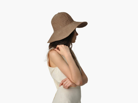 Vintage Brown Ribbon Wide Floppy Hat