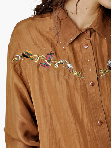 Vintage Brown Silk Western Shirt