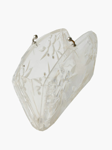 Vintage Carved Lucite Floral Clutch