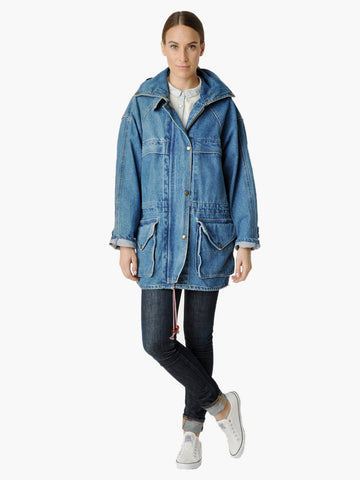 Vintage Hooded Denim Drawstring Coat