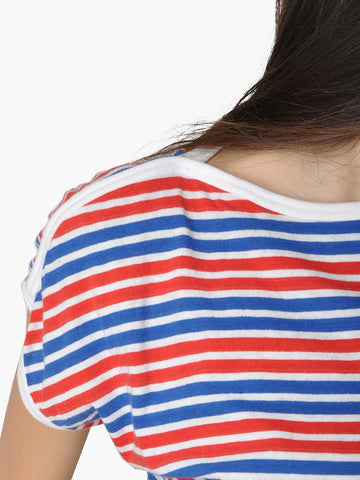Vintage Blue and Red Striped T-Shirt