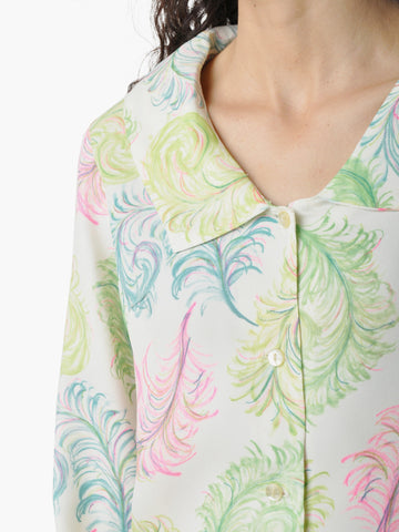 Vintage Bright Feather Print Blouse
