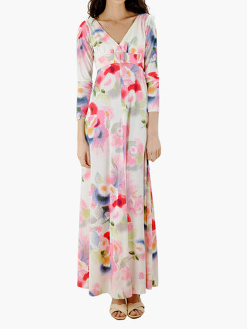 Vintage Belted White Floral Maxi Dress
