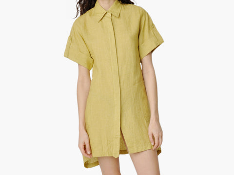 Vintage draped shirt dress with an asymmetrical hem
