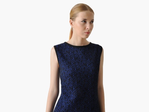Vintage Blue Knit Sheath Dress