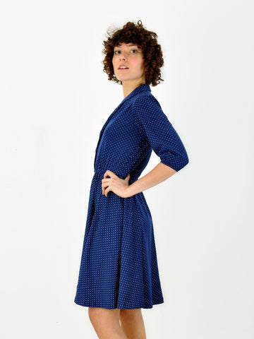 Vintage Navy polka dotted shirtwaist dress