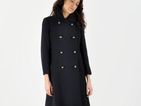 Vintage Navy Coat with Back Buckle Detail