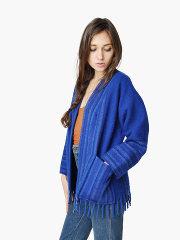 Vintage Blue Blanket Fringe Sweater
