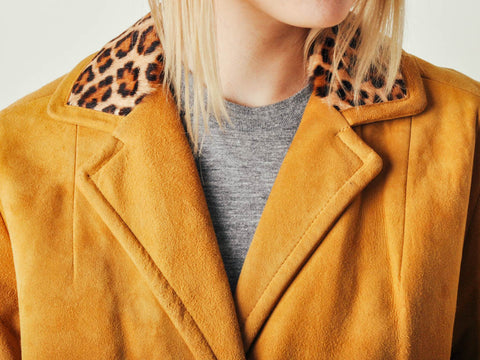 Vintage Suede Coat with Leopard Collar