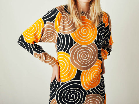 Vintage Swirl Print Silk Dress