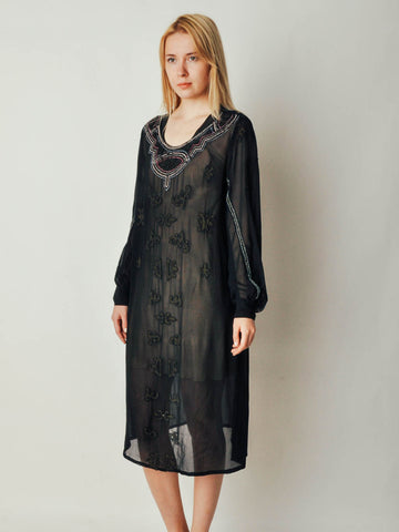 Vintage Deco Black Sheer Dress