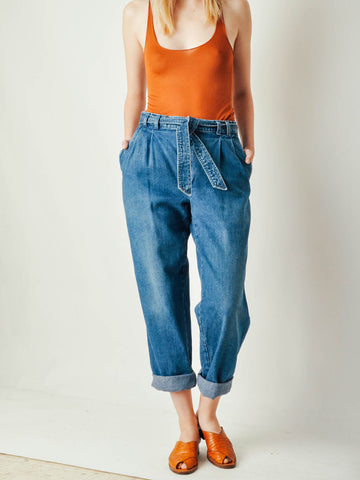 Vintage Belted Denim Pants
