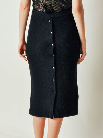 Vintage Black Slim Knit Skirt