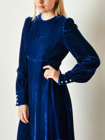 Vintage Blue Velvet Long Dress