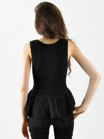 A Détacher Black Peplum Knit Top
