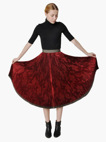 Vintage Accordion Pleated Satin Skirt
