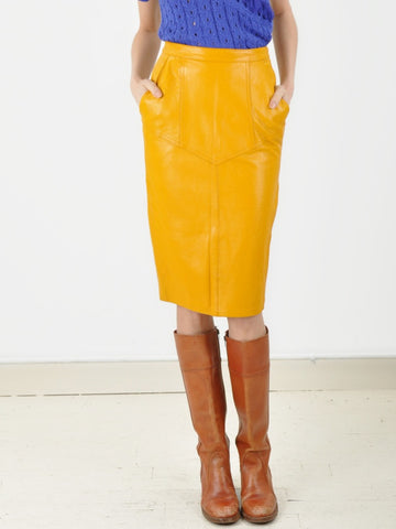 Yellow Leather Pencil Skirt