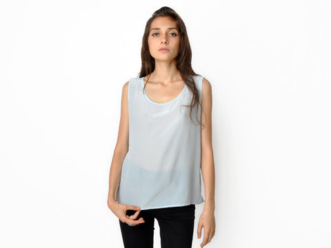 Vintage Powder Blue Silk Tank
