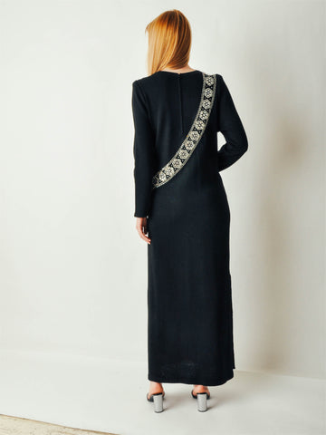 Vintage Adolfo Studded Black Knit Dress