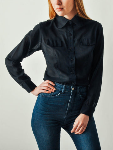 Vintage Black Button Down Shirt