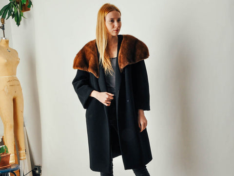 Vintage Black Wool Coat with an Oversized Mink Collar