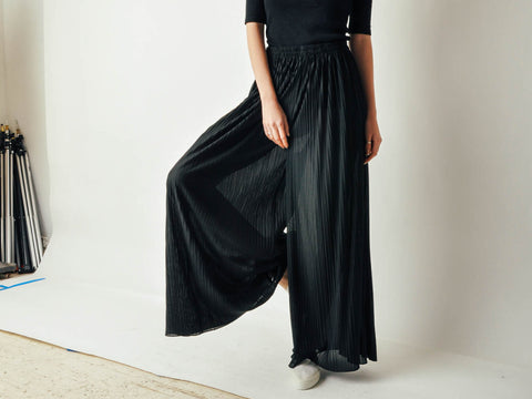 Vintage Black Micro Pleated Pants