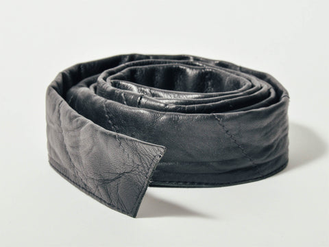 Black Quilted Leather Adjustable Belt