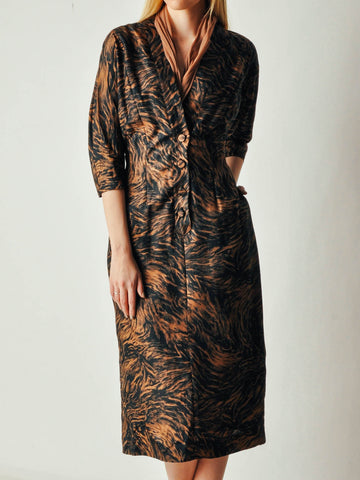 Vintage Black and Brown Abstract Dress