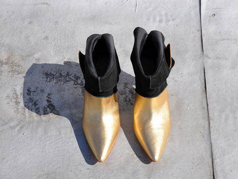 Finsk Gold and Black Ankle Boots