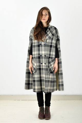Vintage Double Breasted Plaid Cape