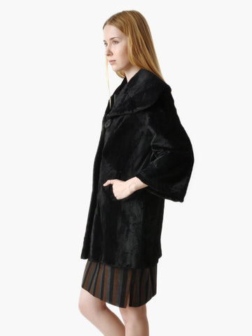 Vintage Black Faux Fur Coat