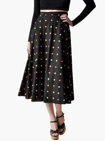 Vintage Black Polka Dot Circle Skirt