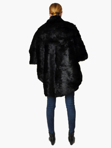Vintage Black Rabbit Fur Cape